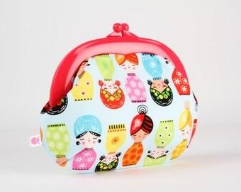 Plastic frame purse - Senoritas on light blue - Gamaguchi large / Neon pink kisslock purse / Suzy Ultman / Cute matryoshka / green orange