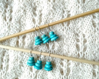 knitting stitch markers - snag free - turquoise semi precious stacked stones - set of 6 - three loop sizes available