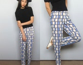 warhol pants -- vintage 80s abstract-print high-waisted pants Petite XS