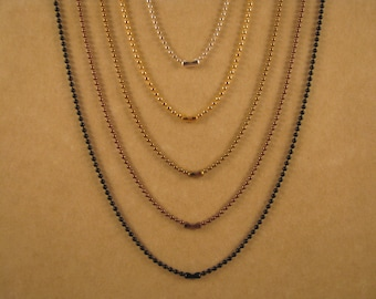 30 Inch 1.5 mm Set of 2 Ball Chain Necklaces in Silver, Sun Gold, Antique Gold, Antique Copper or Black