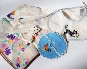 Lot of Vintage Textile Items Hankie Doll Bib Trim Fabric Crochet Applique Crafting Supplies White Crafts Haberdashery Scrap Sewing Remnants