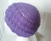 Reserved for  myalex01 Beanie Hat Crocheted in the colour Medium Purple Woman Cotton x 2