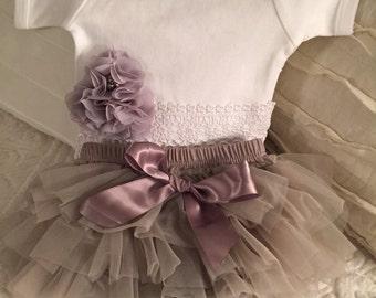 Newborn Baby Pettiskirt bloomer outfit lace chiffon flower trim Wedding outfit 3 pc se
