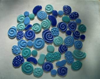 53BO - Huge 53 pc Blue, Turqoise, Aqua SWIRLS and BUBBLES - Ceramic Mosaic Tile Set