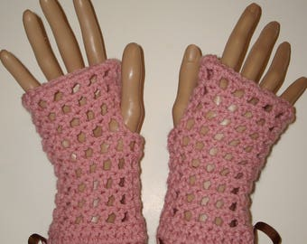 Springtime Crochet Fingerless Glove Wristers/Gauntlets/Driving gloves/Texting Gloves/Women's Accessories/Summer Gloves/Spring Wristers/Rose