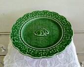 Vintage Bordallo Pinheiro Bunny Rabbit Cake Stand with Green Glaze and More