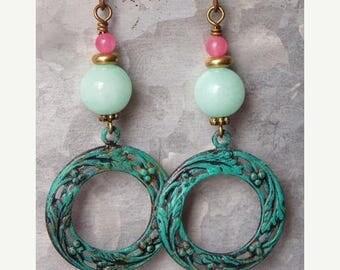 Sale Gemstone Earrings Pink & Aqua Drop Dangle Earrings Patina Verdigris Semi Precious Stone Earrings Boho Bohemian Charm Jewelry Gift Vinta