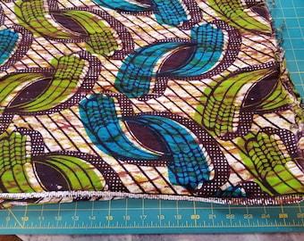 Cotton Batik Challis type Blue Green Brown colors almost 1-1/2yd