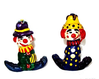 Clown Sculptures, Set of 2, Hand-Painted Fantasy Folk Art, Hand-sculpted Polymer Clay, Humorous Funny, Circus Figurines, Red Blue,Home Decor