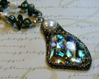 Forest Green-pearl and abalone necklace with pave crystal pendant, 19 inches or 48 cm