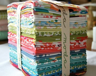 Fat Quarter Bundle RARE Just Wing It Out of Print MoMo Modern Flowers Trees Stripes Aqua Red Green Kids Children Quilting piecesofpine