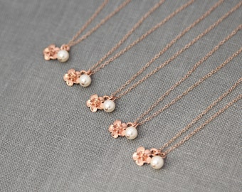 Spring Bridesmaid Jewelry, Rose Gold Bridesmaid Gift Set of 6, Pearl Necklace Rose Gold Jewelry