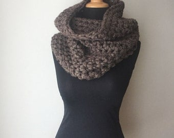 Oversized Chunky Cowl in Brown Hemp Wool Neck Warmer Thick Chunky Scarf Eco Friendly Ready to Ship