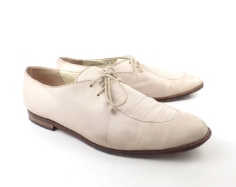 Bally Oxford Shoes Vintage 1970s Off White Leather Women's size 8
