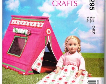 "Tent and Sleeping Bag Camping Accessory for 18"" Inch Tall Doll McCalls MP295 7268 Sewing Pattern Fits American Girl"