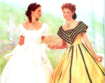 Southern Belle Dress Historical Dress  Butterick 6693 Sewing Pattern Making History Size 6 8 10 Bust 30.5 31.5 32.5 Misses Uncut