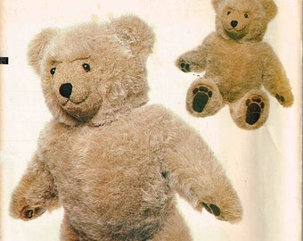 Plush Fur Teddy Bear Vogue 8658 Sewing Pattern Stuffed Childrens Toy Designed by Linda Carr 23 Inch Tall Uncut Factory Folded