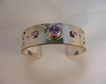 Lavender CZ Silver Cuff