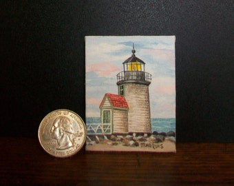 Miniature Lighthouse Painting  1:12 scale