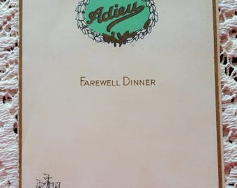 Cunard Line RMS Berengaria Farewell Dinner Menu July 10 1934 Very Rare with Autographs of Passengers