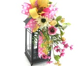 Easter Lantern Swag with Pink Wild Flowers and Eggs, Pink & Yellow Spring Lantern Swag with Wild Flowers and Whimsical Bow