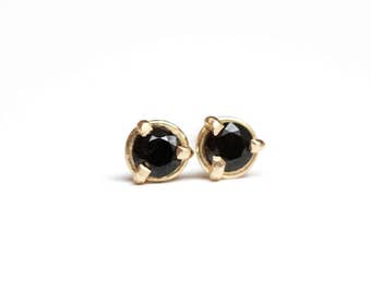 OOAK Black Spinel Studs in 14k Yellow Gold - Prong Set Black Gemstone Earring - Post Earring - Martini Setting Studs - Feminine Gem Earring