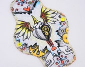 """10"""" Moderate Cloth Pad, Minky Cloth Menstrual Pad, MotherMoonPads, Day Pad, Light Incontinence Pad, Quirky Bees & Owls Minky, Windpro Fleece"""