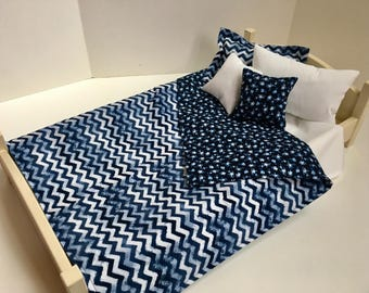 18 Inch Doll Clothes and Accessories 6 Pc Bedding Set - Blue Chevron for 18 Inch Doll