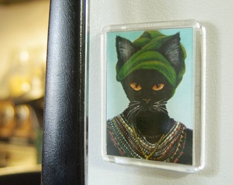 ON SALE Black Cat Magnet Native African Cat in Turban and Colorful Beaded Necklace Fridge Magnet