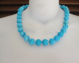 Vintage Asian Necklace Turquoise Blue Carved Stone Beads 14K Gold Clasp