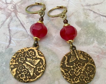 Antique Gold Earrings, Watermelon Colored Dyed Jade Bead, Beautiful Vines And Butterfly Accents, Butterfly Earrings, Women's Jewelry