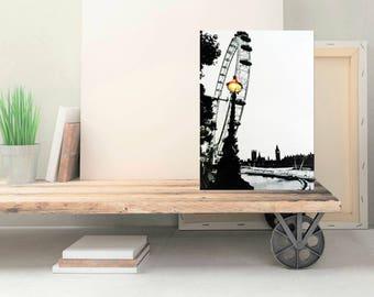 London England Skyline - Canvas Art Print - London Cityscape - London Art - London Photo on Canvas - Black and White Wall Art - 8x12