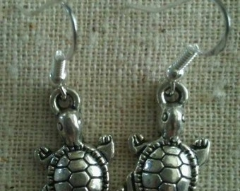 Terrapin turtle Grateful Dead simple silver earrings