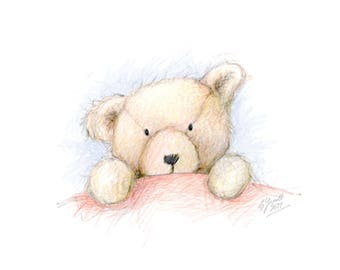 Childrens art print, teddy art print, childrens illustration, childrens wall art, teddy bear, teddy illustration, room decor, nursery art