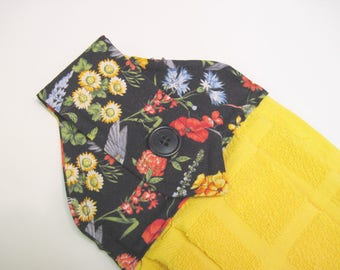 Hanging kitchen towel  button top summer flowers black  top with yellow towel