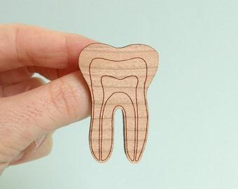 Tooth Brooch Wooden Fine Etch Dentist Pin Dental Jewellery Anatomy Jewelry