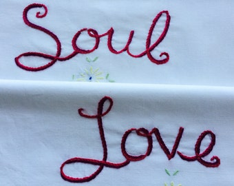 Soul Love, Pillowcases, Hand embroidered, David Bowie, Couples gift, Stocking stuffer, Boho bedroom