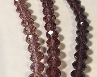 Luscious Crystal Rondelle Beads in Purples - 8x5mm