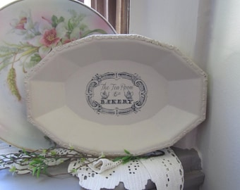 Chalk Painted Tray - Victorian Platter - Painted Silver Tray - Old Ochre Chalk Painted Item