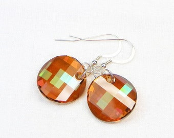 Swarovski Twist Earrings - Dangle Earrings - Gift For Her - Swarovski Crystals - Copper - Sterling Silver - Faceted Crystals