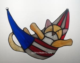 Sleepy Patriotic Kitten Stained Glass Suncatcher