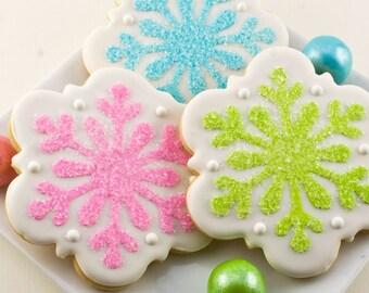 Snowflake Cookies, Holiday Cookies, Christmas  - 12 Decorated Sugar Cookies