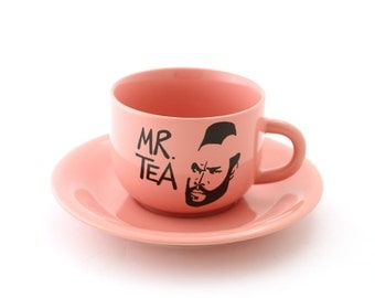 Mr. T Tea Teacup and Saucer pink - bubble gum pink cup and saucer - funny gift - tea drinker - 80 s television lover
