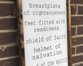 Put on the Full Armor of God Hand Painted Wood Sign