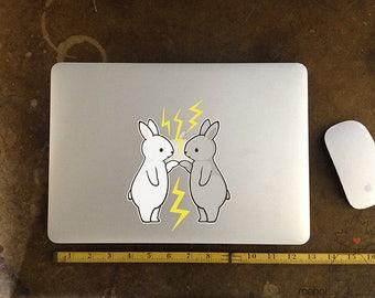 Bunny Pair - Large Vinyl Laptop Sticker