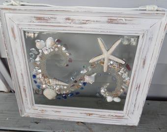 Beach art, landscape ocean inspired framed artwork, home decor, mosaic sea glass, sand, shell, starfish picture