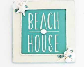 "BEACH DECOR SIGN wood ""Beach House"", aqua & white, seashells, vintage coral, nautical decor, coastal decor, beachy wall decor, 14"" x 14"""