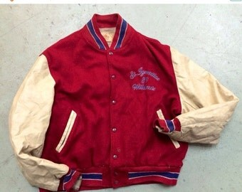 30% off SPRING SALE The Vintage St. Ignacius 89 Wildcats Red Wool Leather Letterman Jacket