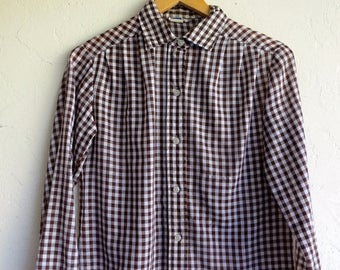 35% OFF SPRING SALE Brown & Beige Gingham Buttondown Shirt