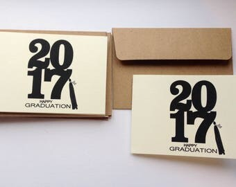 Set of 5 Graduation Cards: personalized state on tassel